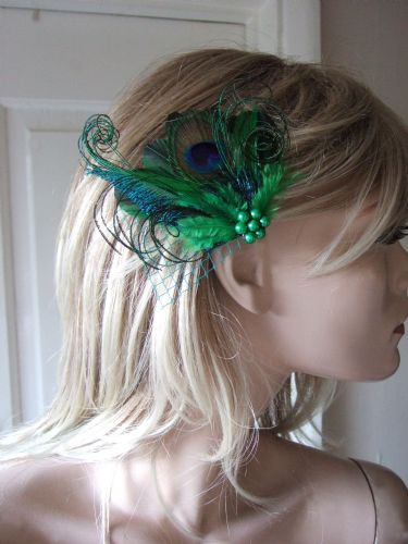 "Emerald + Kelly Green Peacock Feathers Fascinator Hair Clip ""Avril"" with Veiling"